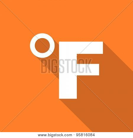 fahrenheit flat design modern icon with long shadow for web and mobile app