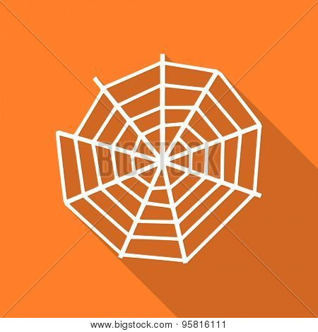 spider web flat design modern icon with long shadow for web and mobile app