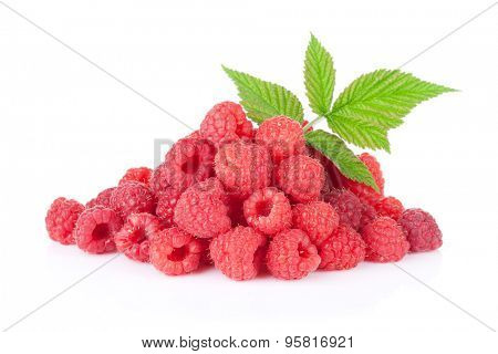 Heap of fresh raspberries. Isolated on white background