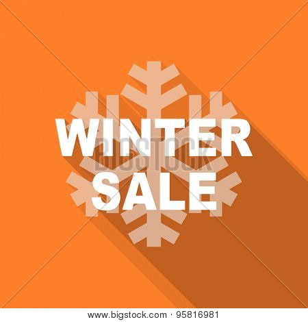 winter sale flat design modern icon with long shadow for web and mobile app