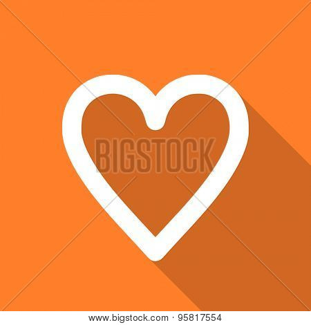 heart flat design modern icon with long shadow for web and mobile app