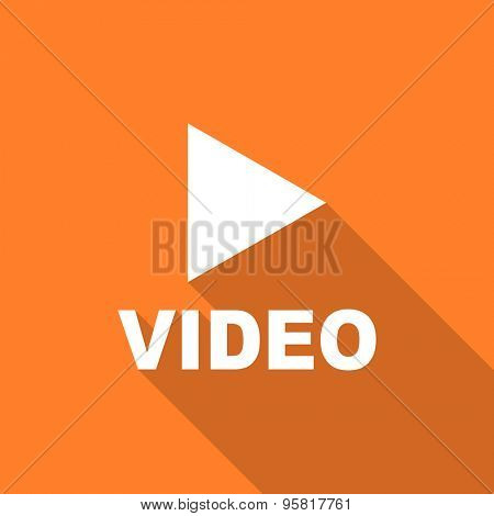 video flat design modern icon with long shadow for web and mobile app