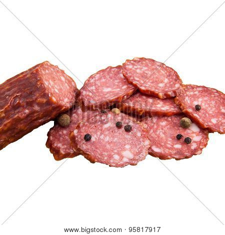 Slices Of Salami Isolated