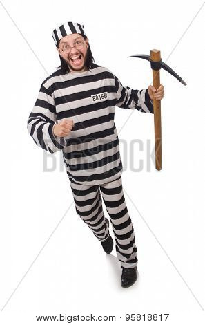 Prison inmate with axe isolated on white