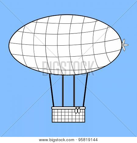 Airship With A Basket For Aeronautics Retro Style