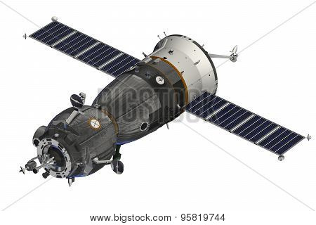 Spacecraft Over The White Background