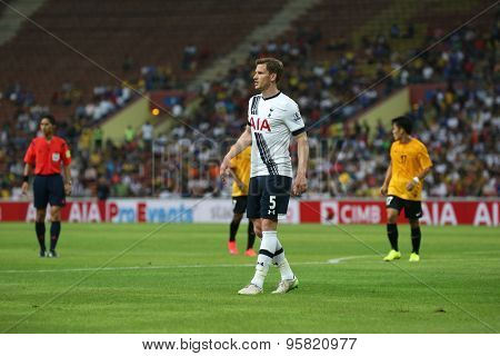 May 27, 2015- Shah Alam, Malaysia: Tottenham Hotspur's Jan Vertonghen (5) reacts in the match versus the Malaysian Selection Team. Tottenham Hotspur is on a Asia-Australia tour.