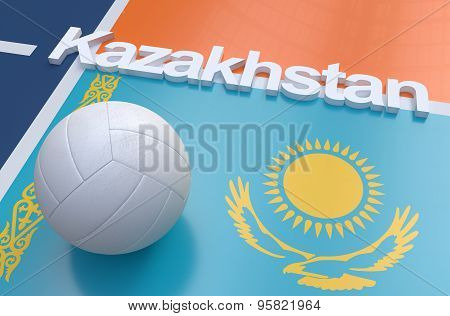 Flag Of Kazakhstan With Championship Volleyball Ball