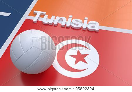 Flag Of Tunisia With Championship Volleyball Ball