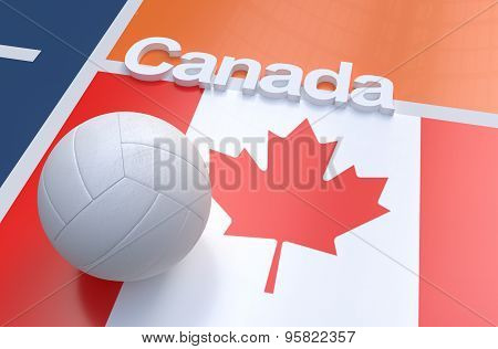 Flag Of Canada With Championship Volleyball Ball