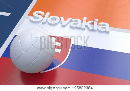 Flag Of Slovakia With Championship Volleyball Ball