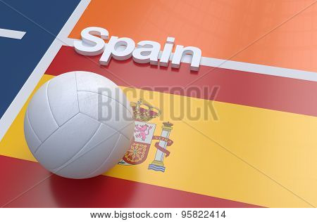 Flag Of Spain With Championship Volleyball Ball