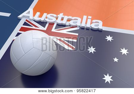 Flag Of Australia With Championship Volleyball Ball