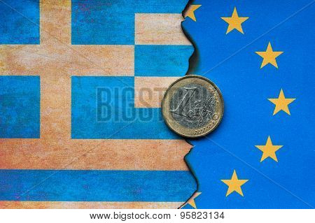 Greek and European flag dividing