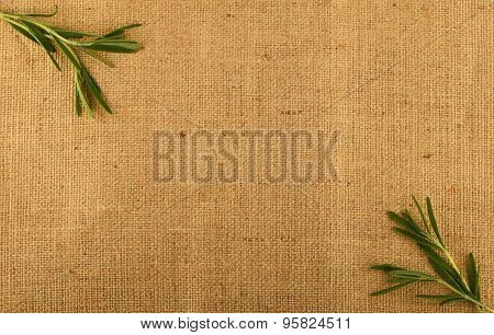 Jute Canvas With Rosemary Leaves In Corners