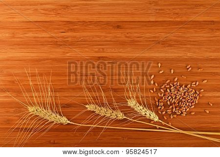Wooden Bamboo Cutting Board With Three Wheat Ears And Grains