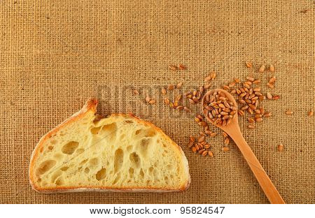 Canvas With Slice Of Bread And Ripe Grains