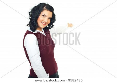 Beautiful Businesswoman Welcoming