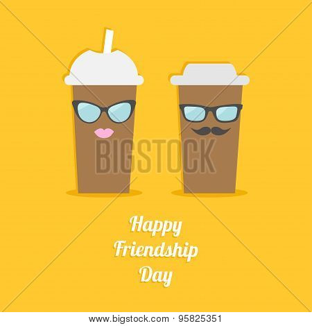 Happy Friendship Day Two Disposable Coffee Paper Cups With Sunglasses Mustache And Lips. Flat Design