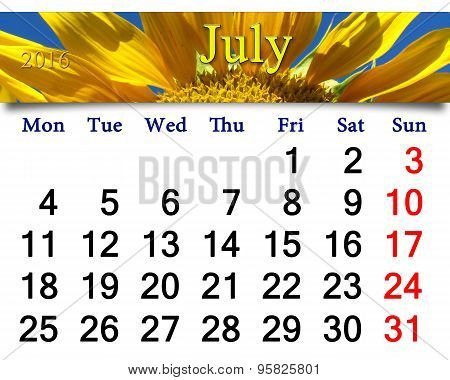 Calendar For July 2016 With Yellow Sunflowers