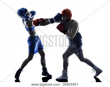 one woman boxer boxing one man  kickboxing  silhouette isolated  white background