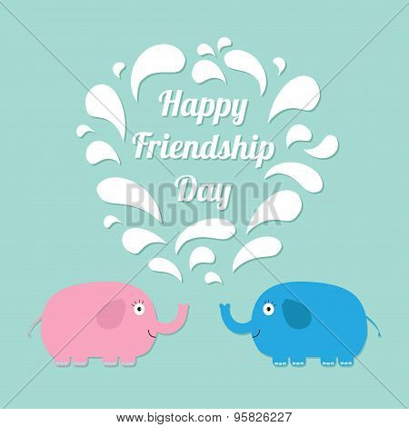 Happy Friendship Day Pink And Blue Elephants With Heart Fountain Flat Design