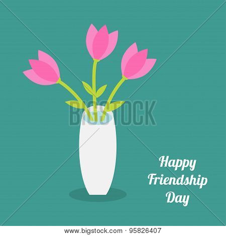 Happy Friendship Day Bouquet Of Pink Tulip Flowers In A Vase. Flat Design.