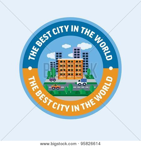 The best city in the world. Flat design vector