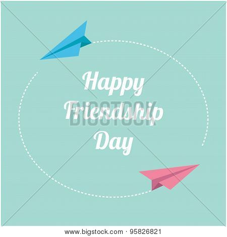 Happy Friendship Day Pink And Blue Origami Paper Planes. Round Dash Frame In The Sky. Flat Design