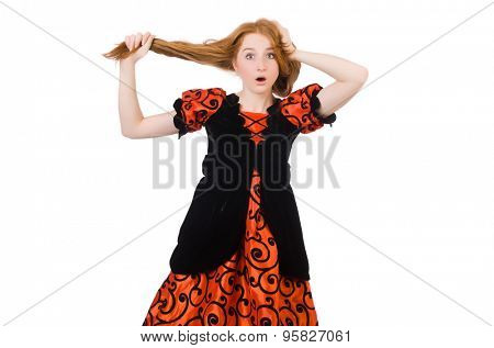 Red hair girl in orange dress isolated on white