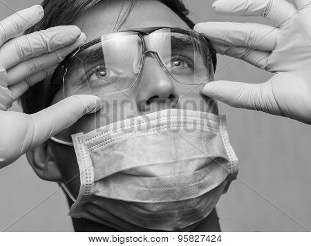 Portrait of young doctor wearing safety glases