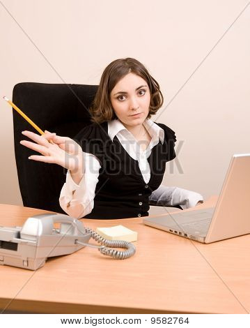 Young Businesswoman Working At The Office