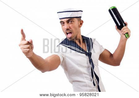 Sailor isolated with wine bottle