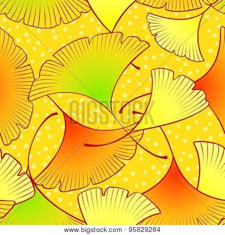 Colorful dancing gingko leaves seamless pattern