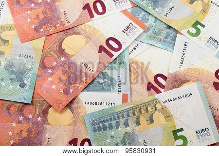 5 And 10 Euro Notes Background