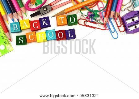 Back To School wooden blocks with school supplies border