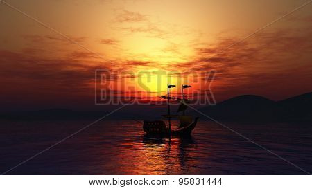 3D landscape of a ship sailing on the sea against a sunset sky
