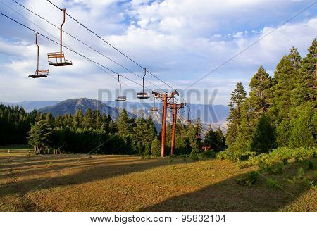 Ski Lift Up California Mountains