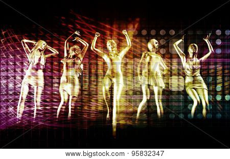Beach Rave Party with Disco Dancing Girls