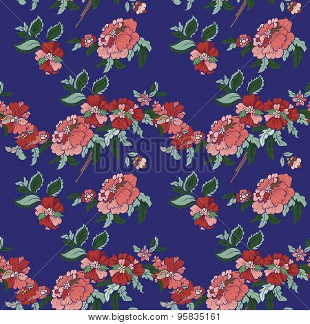 Beautiful  floral seamless pattern with blue backdrop. Vector background.  Flowers and leaves.