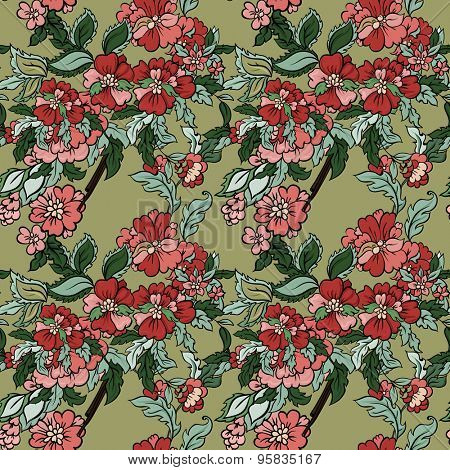 Beautiful  floral seamless pattern with olive backdrop. Vector background.  Flowers and leaves.