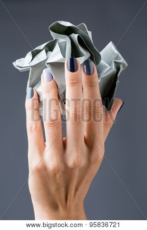 Stylish manicure in shades of gray female elegant handles.