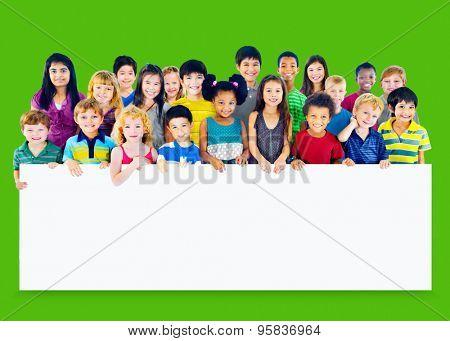 Kids Children Diversity Happiness Whiteboard Cheerful Concept