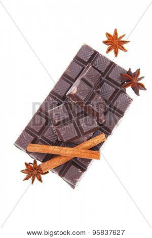 bar of dark chocolate isolated on white background