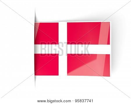 Square Label With Flag Of Denmark