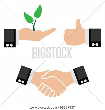 Illustration Business Icons. Handshake partners Sprout Tree in Hand, Sign of a Good.
