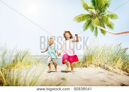 Sibling Happiness Summer Beach Vacations Concept