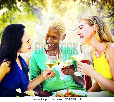 Girls Celebration Hanging Out Talking Chilling Concept