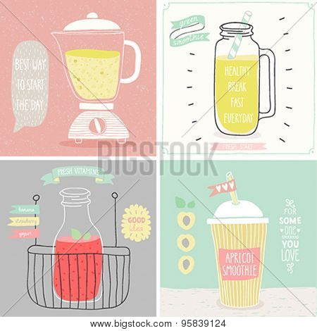 Smoothie cards - Hand drawn style. Vector illustration.