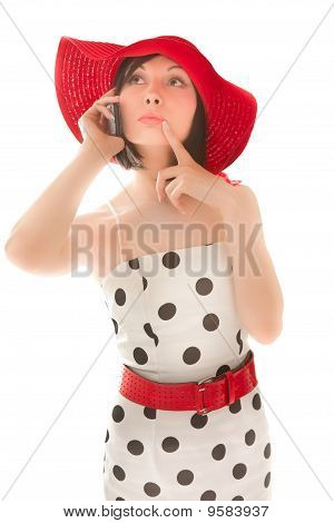 Woman With Telephone Isolated On White